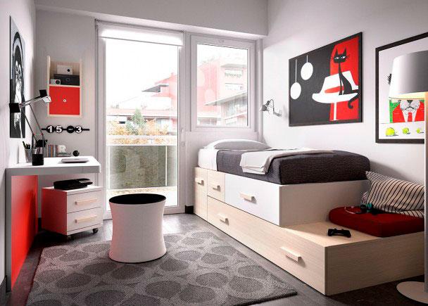 <p>Dormitorio Juvenil completamente modular. Se compone de una Cama Nido y una serie de módulos apilables de gran capacidad + Escritorio con panel inferior</p>
