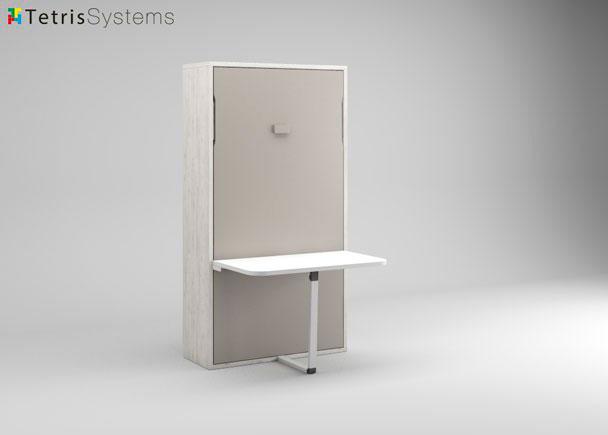<p>Cama pegable vertical con mesa incorporada. La cama abatible tiene una medida de 111 x 45 x 209 cm. de altura y est&aacute; preparda para un colch&oacute;n de 90 x 190 cm. y grueso m&aacute;ximo de 18 cm . Se fabrica tambi&eacute;n para medidas de 105 x 190, 135 x 190 y 150 x 190 cm de largo e incluso para medidas especiales para ajustarnos a tu espacio. Extendida desplaza de la pared 221 cm.</p>