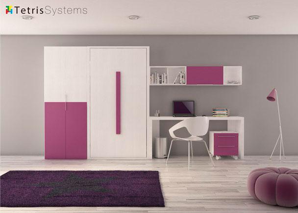 <p>Dormitorio juvenil compuesto por armario de puerta partida, cama abatible vertical, mesa y m&oacute;dulo auxiliar.</p>