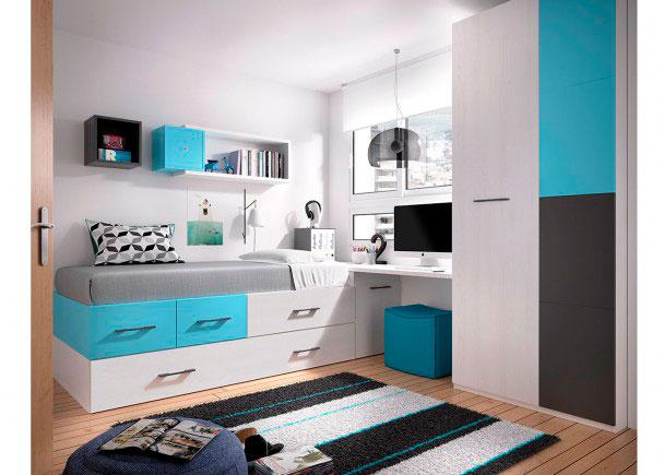 <p>Habitación Juvenil equipada con Cama Nido con cajones apilados + Escritorio de sobre recto de 202 cm</p>