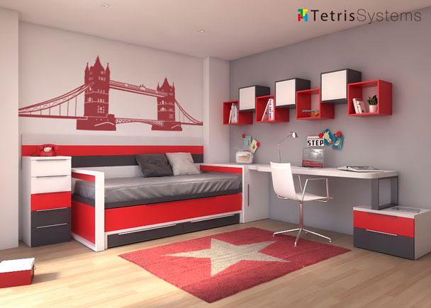 <p>Dormitorio juvenil con cama deslizante para ambos colchones de 190x90 cm con medidas de 210 cm de largo. de largo.</p>
