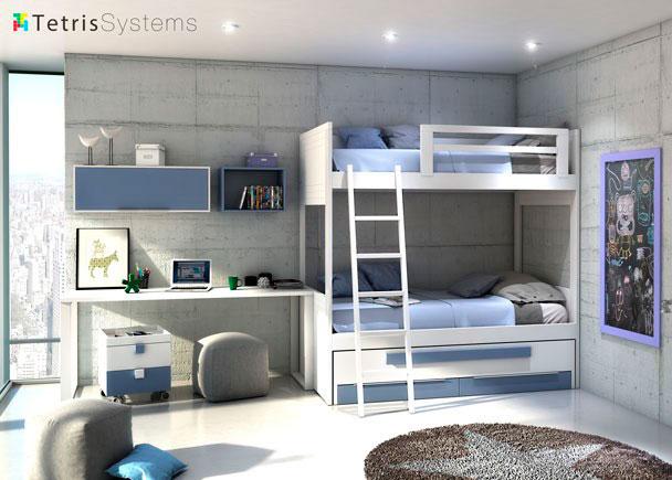 <p>Litera rom&aacute;ntica y compacto con cama deslizante, escalera, protector para la cama de arriba, mesa de estudio rectangular con soportes y cajones y cubos</p>