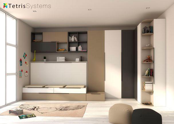 Dormitorio juvenil compuesto por cama abatible que al estar en posición cerrada es un sofá, armarios rectos y de rincón.El ambiente esta co