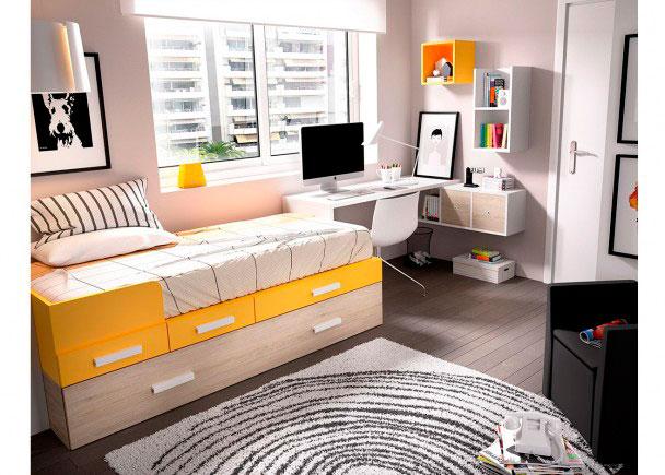 <p>Dormitorio Juvenil equipado a base de elementos modulares. Dispone de Cama nido con fila de cajones apilables + Escritorio de 152 cm</p>