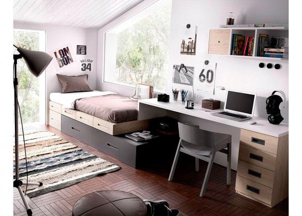 <p>Habitación Juvenil equipada a base de prácticos elementos modulares y apilables. Dispone de una Cama Nido con una fila de cajones + Escritorio.</p>