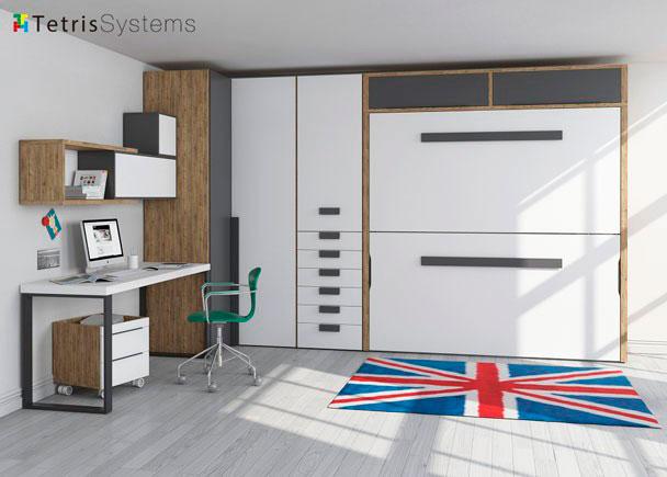 <p>Habitación para jóvenes con litera horizontal abatible de alta calidad, amplio armario rinconero y mesa con soportes metálicos.</p>