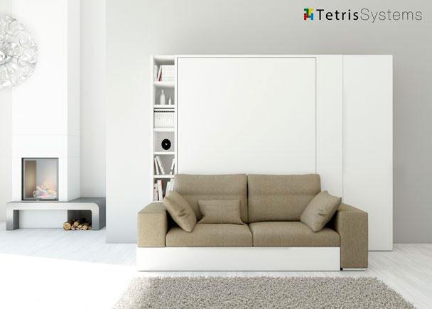 Salón como cama abatible para colchón de de 150 x 190 cm. más sofá y cama nido. Terminal librería frontal de 29 cm. de