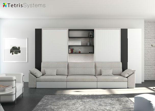 El innovador sistema de camas abatibles con sofá incorporado DIVO, nos permite utilizar la cama sin desplazar el sofá que se encuentra frente a &e