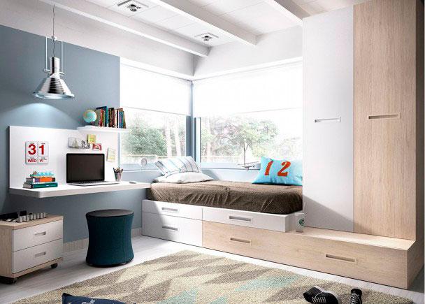 <p>Dormitorio Juvenil equipado a base de elementos modulares y apilables. Dispone de una Cama Nido + Escritorio con panel superior + Armario apilable.</p>