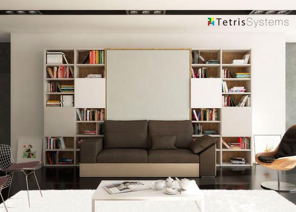 <p>El sistema de cama abatible con sofá, permite disponer de una estancia camaleónica; salón durante el día donde la cama pasa completamente desapercibida.</p>