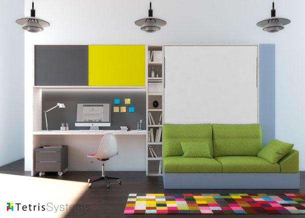 <p>Cama abatible de 150 x 190 con estantes interiores y sofá DIVO con nido inferior. El ambiente cuenta con dos terminales librería y escritorio con altillo.</p>