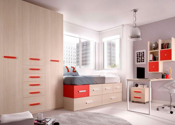 <p>Habitación Juvenil equipada a base de elementos modulares y apilables. Dispone de una Cama Modular + Armario de 3 cuerpos con sinfonier + Escritorio.</p>
