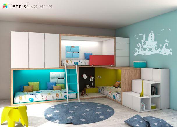<p>Dormitorio con 3 literas RUBBIK, todas con iluminaci&oacute;n Led. Cuenta con armarios, sinfonier, escalera de 3 pelda&ntilde;os, cubos di&aacute;fanos y bolsas multiusos.</p>