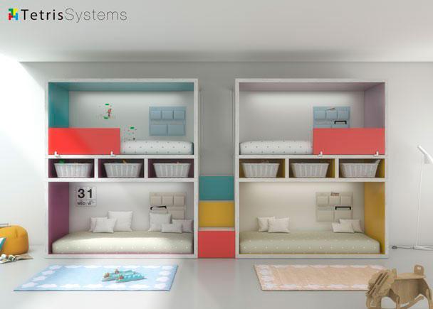 Habitación infantil equipada con literas RUBBIK. Dispone de 4 camas con escalera central de 3 peldaños. Separador central con huecos decorativos.