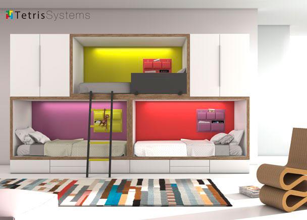 <p>Combinaci&oacute;n mixta de literas base RUBBIK con tira de Leds y traseras de color destacado y bolsas multiusos. Arriba cama apilable con armarios laterales.</p>