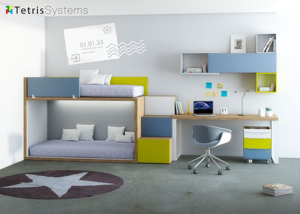 <p>Dormitorio infantil equipado con una Litera RUBBIK con escalera de 3 pelda&ntilde;os y zona de estudio con composici&oacute;n mural.</p>