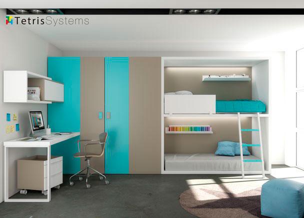 Doble litera Rubbik con Iluminación LED y escalera a suelo. A la izquierda, gran armario cabina de 1 metro de fondo y zona estudio con composición mural.