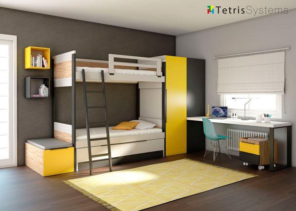 <p>Litera rom&aacute;ntica y compacto con cama deslizante, escalera, protector para la cama de arriba, mesa de estudio rectangular con soportes y cajones y cubos.</p>