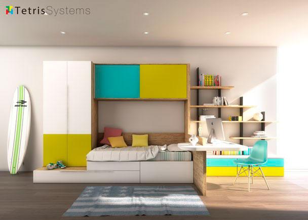 Dormitorio modular compuesto de cajones, contenedores y modulo nido. Dispone de zona de estudio, altillo de puertas correderas y armario apilable.