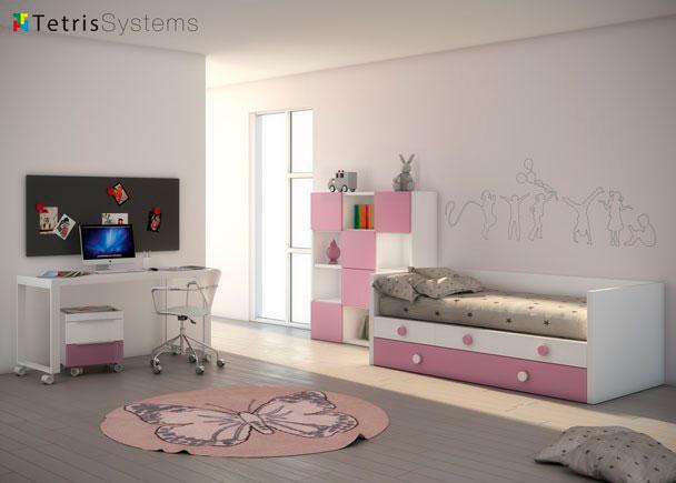 Dormitorio infantil con compacto nido con somier de arrastre y cajones. El equipamiento se completa con un escritorio y una simpática libreria.