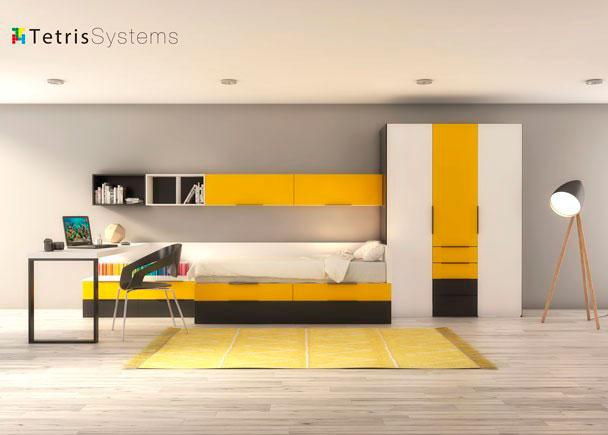 Dormitorio juvenil de linea modular con cama nido y dos cajones de 1 m de fondo con guía de extracción total. Armario y sinfonier de cajones vistos.