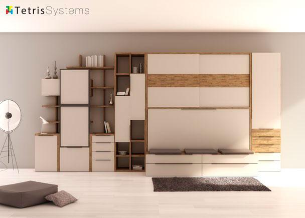 <p>Combinaci&oacute;n mixta de cama abatible con cama nido. El ambiente cuenta adem&aacute;s con un armario superior de puertas correderas, sinfonier y zona de librer&iacute;a.</p>