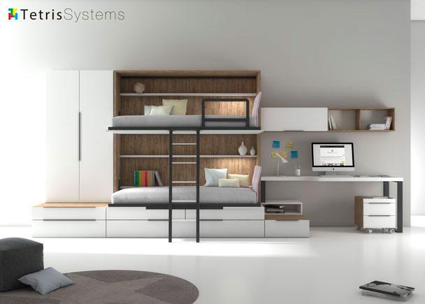 <p>Combinación mixta de cama abatible con cama nido. El ambiente cuente además con un armario apilable de 2 puertas y escritorio de sobre decreciente.</p>