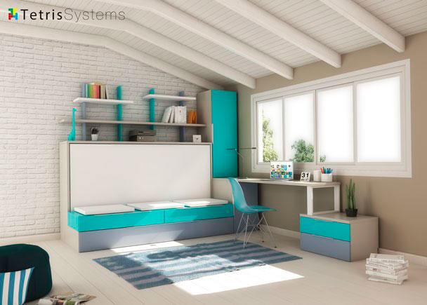 Combinación mixta de cama abatible con cama nido. Dispone de un arcón de puerta extraíble con armario apilable de 1 puerta, escritorio y zo