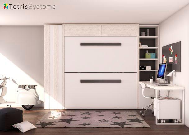 <p>Dormitorio-Estudio con litera abatible horizontal. Dispone de un armario recto de 1 puerta, una librer&iacute;a y un amplio escritorio de sobre recto.</p>