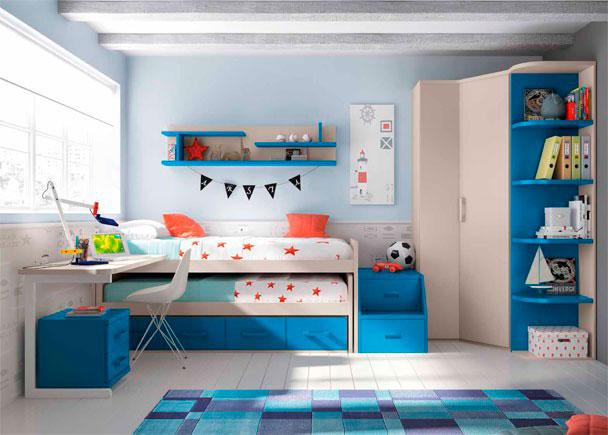 <p>Habitación Infantil con compacto de 4 cajones y cama deslizante de frente abierto. Cuenta con un escritorio de sobre recto y un armario rincón con terminal</p>