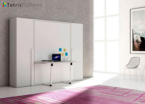 <p>Cama abatible vertical con mesa escritorio incorporado. Dos armarios de 60 cm. y fondo 45 cm. para albergar la ropa mediante barras extra&iacute;bles.</p>