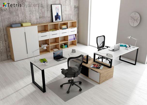 <p>Despacho multi-office con 2 puestos de trabajo equipado con mesas rectas con un archivador bajo transversal diáfano compartido.</p>