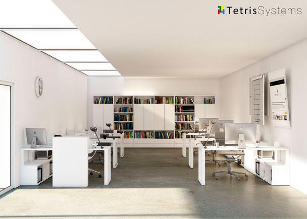 Despacho multi-office con 6 puestos de trabajo equipado con mesas rectas, cada una con un archivador bajo transversal diáfano y pared frontal uso com&uac