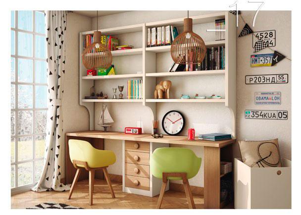 Zona estudio con escritorio recto de 60 cm de fondo con módulo de 4 cajones y pata librería + estanteria superior con columnas en forma de arco.