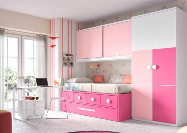 <p>Habitaci&oacute;n infantil compuesto por compacto 1 cama, 4 cajones y somier nido de arrastre. Mesa de estudio recta y armario de puertas japonesas</p>
