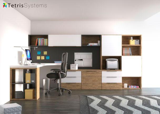 <p>Despacho de uso individual con estanter&iacute;a mural apoyada sobre una credencia de cajones y archivadores y escritorio de sobre angular.</p>