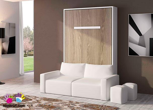<p>Sal&oacute;n con cama abatible vertical de matrimonio, para colch&oacute;n de 150 x 190 con sof&aacute; integrado. El ambiente se puede completar con otros elementos, como m&oacute;dulos bajos, colgantes, escritorios y librer&iacute;as.</p>