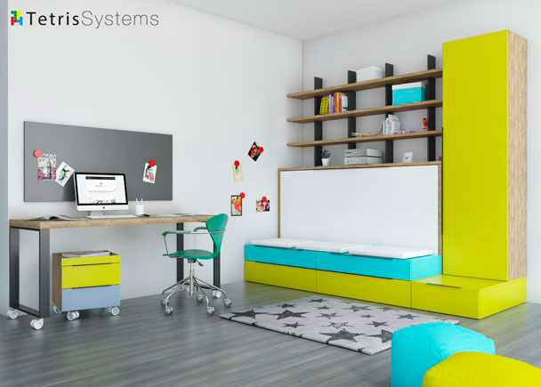 Cama abatible modelo Banquetta con nido inferior de cajones. Cuenta con armario apilable, libreria Tetris y zona de estudio.