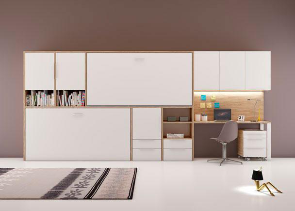 <p>Dormitorio Juvenil con dos camas abatibles para colch&oacute;n de 90 x 190 + altillos, librer&iacute;as con cajones y escritorio recto de 151 cm de largo.</p>