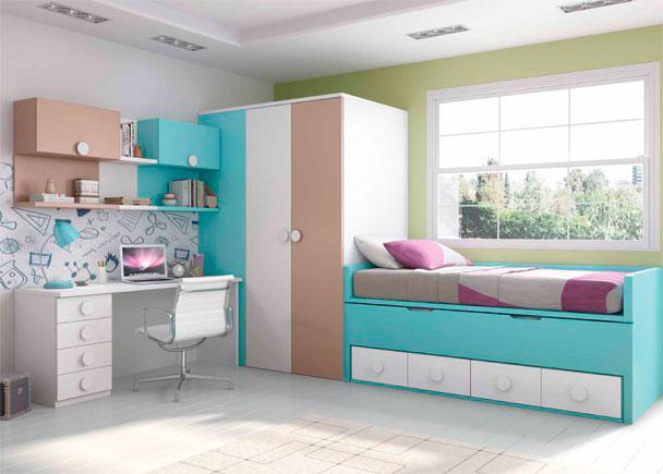 Dormitorio Infantil con cama compacta de 4 cajones con deslizante. El ambiente se completa con un armario vestidor de 100 cm F y un escritorio de 170 cm