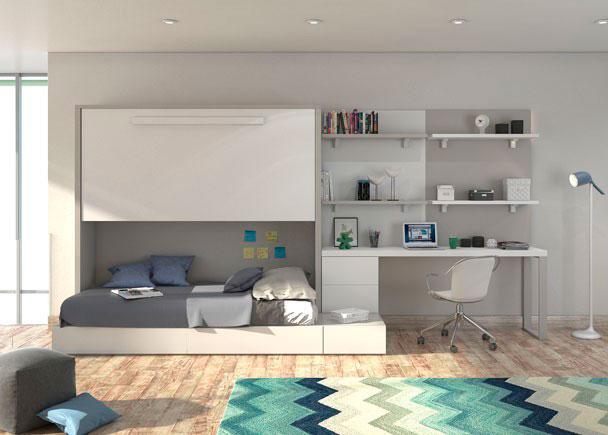 <p>Juvenil con cama abatible alta y sistema modular con cajones. En la zona estudio cuenta con escritorio recto, paneles murales bicolor, cajonera y estantes.</p>