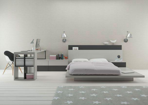 <p>Dormitorio Juvenil con Tatámi de lamas para colchón de 150 x 190 + credencia de 4 cajones y escritorio recto de 2 metros x 56 cm de fondo.</p>