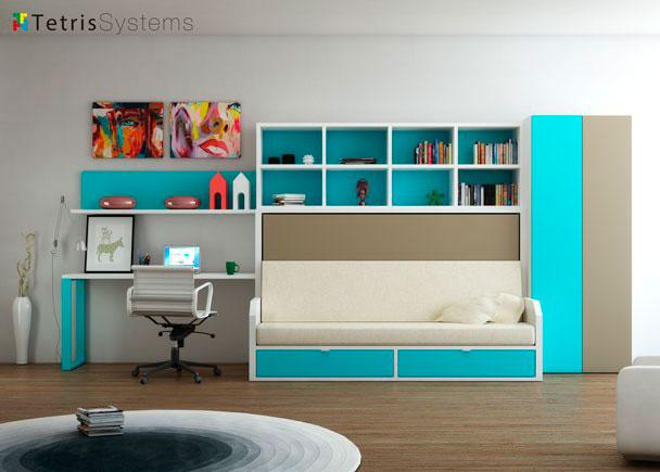 """<h2>Comodidad y sencillez</h2> <p style=""""text-align: justify;"""">Dormitorio con <strong>cama abatible horizontal</strong> con sof&aacute; integrado para habitaciones juveniles</p>"""