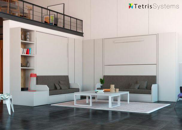 <p>Loft con cama de matrimonio + literas VERSATILE completados con armarios y librería.</p>