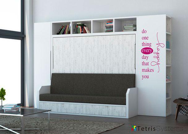 <p>Salita con cama abatible de matrimonio serie VERSATILE para medida de colch&oacute;n de 135 x 190 + armario y librer&iacute;a terminal.</p>