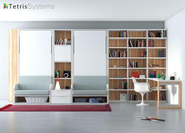 <p>Dormitorio-Estudio con dos camas verticales VERSATILE + libreria y escritorio recto.</p>