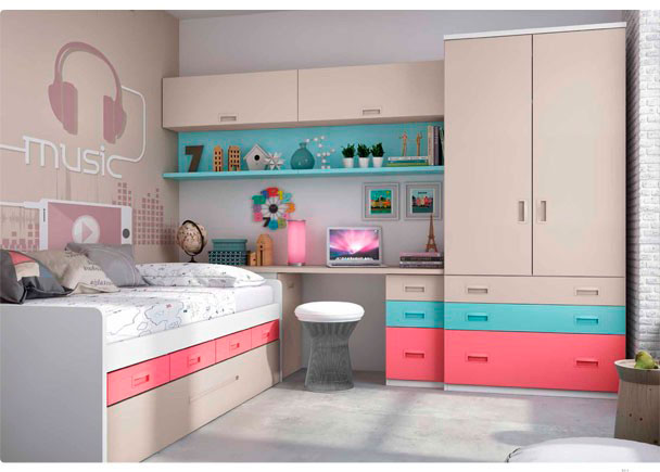 <p>Habitación Infantil compuesto por compacto 1 cama, 4 cajones y somier nido de arrastre. Mesa de estudio recta sobre arcón + armario con cajones</p>