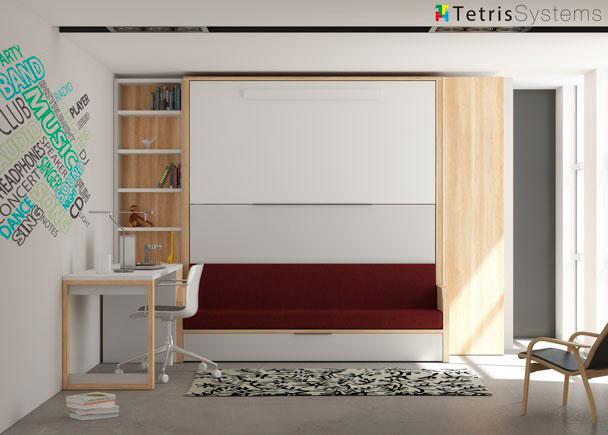 <p>Dormitorio infantil con tres camas con sofá VERSATILE + armario y escritorio.</p>