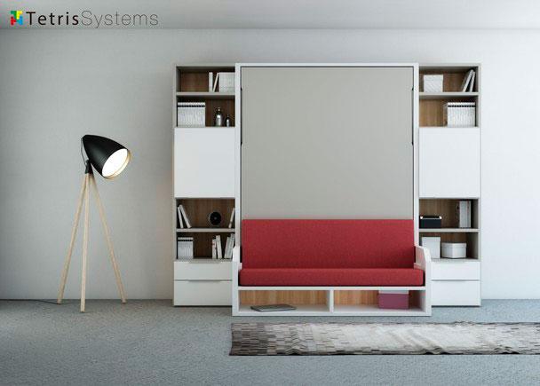 <p>Composición simétrica serie VERSATILE con cama abatible vertical de 150 x190 + librerías con puertas y cajones.</p>
