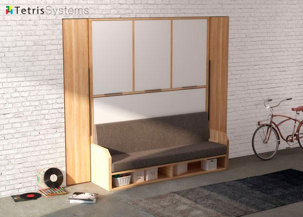 <p>Dormitorio juvenil con banqueta VERSATILE para colch&oacute;n de 90 x 190 con dos armarios laterales y un armario superior de 3 puertas abatibles.</p>